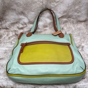 COACH Large Zip Top Tote, lovely Mint/Yellow/Tan